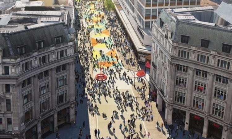 A CGI render of how Oxford Street would have looked