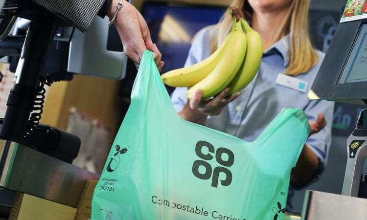 The new compostable carrier bag. Co-Op HQ. Angel Square, Manchester. 19th September 2018. Photographer - Neil O'Connor (UNP).